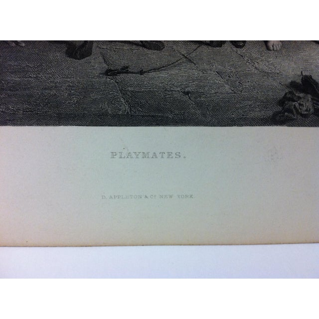 """Antique Print on Paper, """"Playmates"""" by Lumb Stocks, Circa 1880 For Sale - Image 4 of 6"""