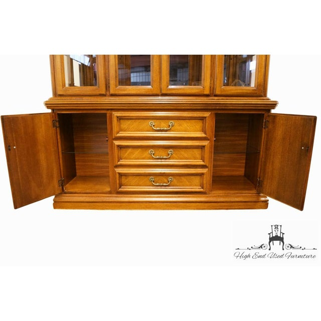 Late 20th Century Late 20th Century Vintage Dixie Country French Oak Buffet & Lighted China Hutch For Sale - Image 5 of 13
