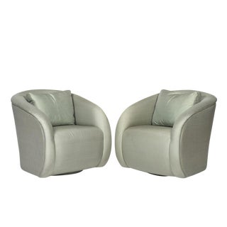 c. 1980 Silk Sculptural Swivel Lounge Chairs - A Pair For Sale