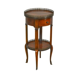 French Louis XV Style Round Mahogany 1 Drawer 2 Tier Side Table For Sale