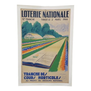 "French Lottery Poster ""Horticulture for National Relief"" C.1944 For Sale"