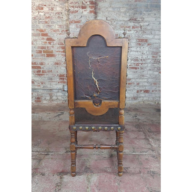 19th Century Portuguese Side Chairs Embossed Leather -A Pair For Sale - Image 9 of 10