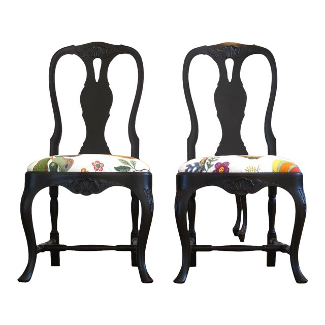 Svenskt Tenn Rococo Chairs With Josef Frank Fabric - a Pair For Sale