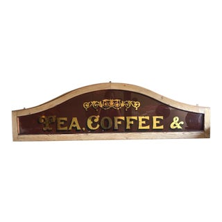 Reverse Painted and Mirrored Tea and Coffee Store Sign For Sale