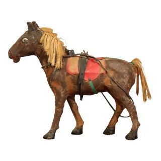 19th Century French Leather Papier Mache and Horse Hair Painted Sculpture For Sale