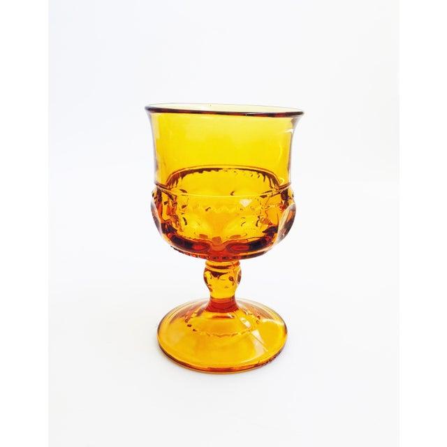Vintage Amber Pressed Glass Goblets - Set of 8 For Sale - Image 4 of 5