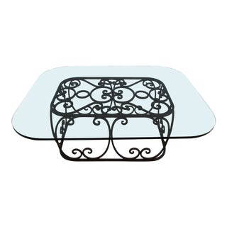 Vintage Italian Scrolled Iron Glass Coffee Table For Sale