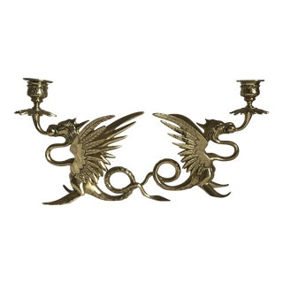 1920s Hollywood Regency Figural Brass Dragon Candlesticks - a Pair For Sale