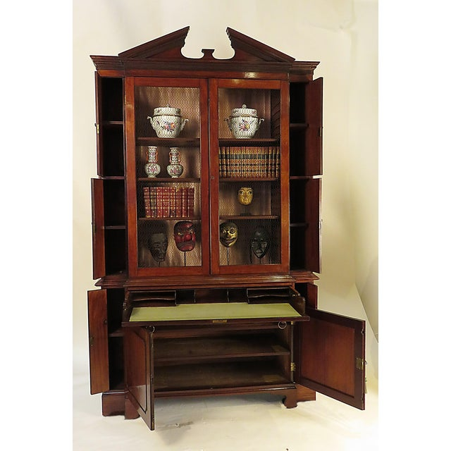 Breakfront secretary desk George III style and adapted from an earlier piece. Great storage with a pull out desk drawer....