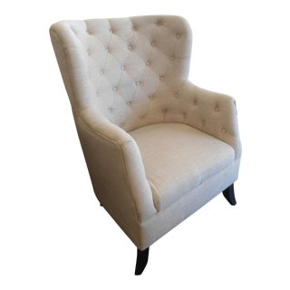 Large Wingback Tufted Armchair, Cream Fabric