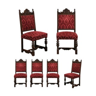 Black Forest Carved Oak Chairs - Set of 6