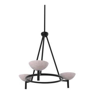 Contemporary 200A Chandelier in Alabaster Blackened Brass by Orphan Work, 2020 For Sale