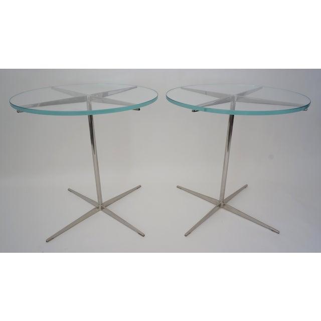 1980s Vintage Drinks or Side Tables Glass on Polished Steel Pedestal - a Pair For Sale - Image 5 of 11