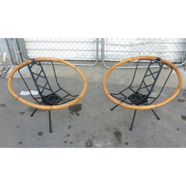 Iron Rare Mid Century Flying Saucer Ritts Tropitan Rattan and Iron Patio Chairs Restored For Sale - Image 7 of 9