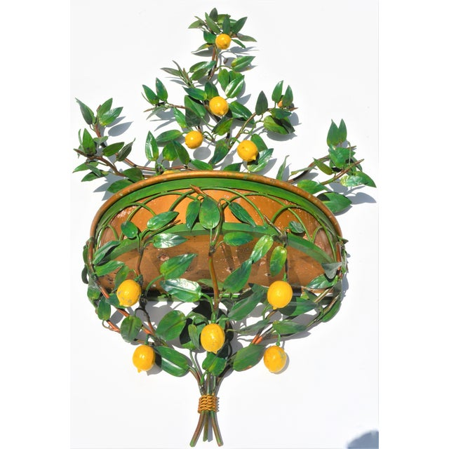 Vintage Italian Tole Lemon Tree Wall Sconce With Planter For Sale In Houston - Image 6 of 10
