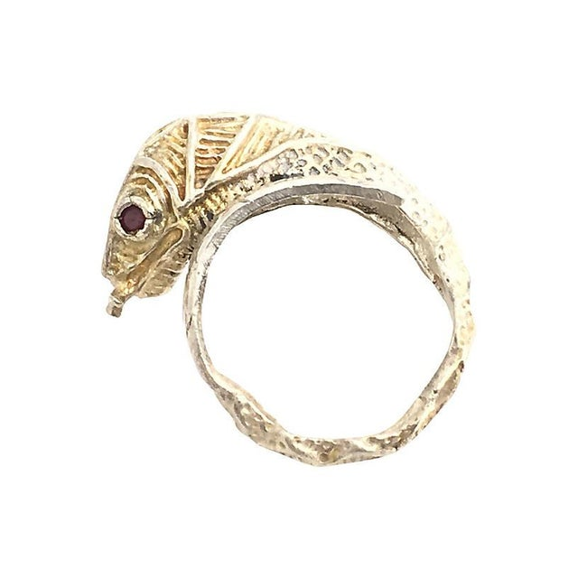 Mid 20th Century Etched Sterling & Garnet Snake Ring For Sale - Image 5 of 6