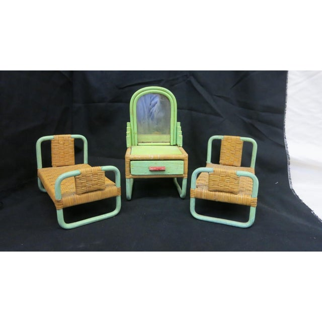 Green Rare Sale's Man Sample Miniature Rattan Furniture For Sale - Image 8 of 8