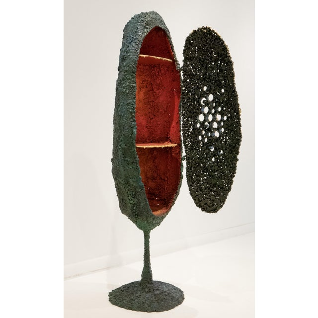 """""""Moon Shelter Cabinet,"""" a sculptural work in polychrome and 24-karat. gilded steel by Des Moines, Iowa artist James..."""