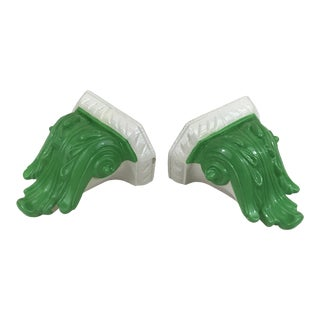 Green Glazed Ceramic Wall Bracket Shelves - a Pair For Sale