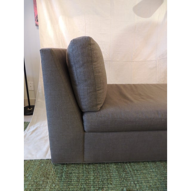 2010s Crate and Barrel Chaise Lounge in Brown Linen For Sale - Image 5 of 12