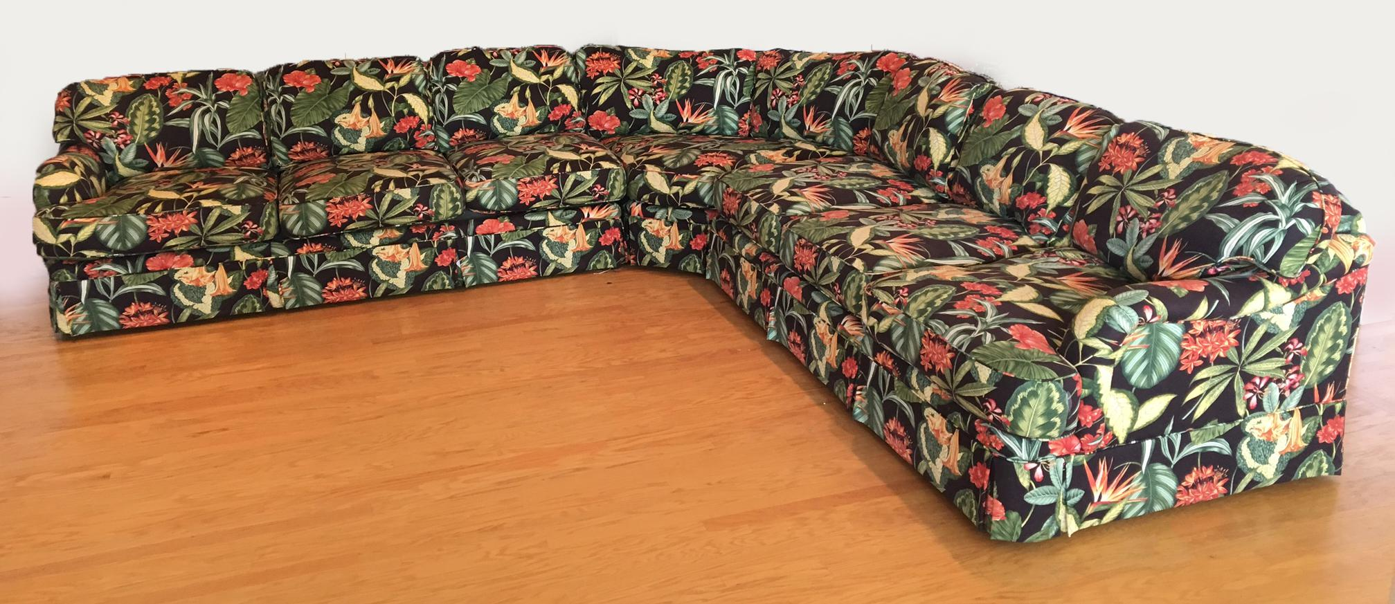 Large Drexel Heritage Tropical Print Sectional Sofa   Image 3 Of 6