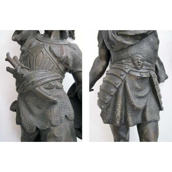 Gray A Well-Executed Pair of English Spelter Figures of Visigoth Warriors For Sale - Image 8 of 9