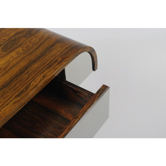 Rosewood & Chrome Pedestal Console - Image 9 of 11