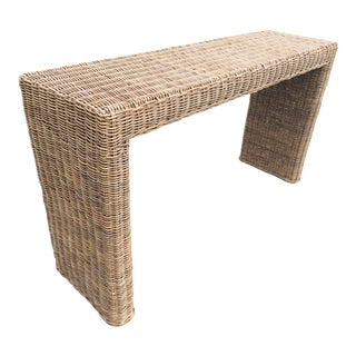 Hand Woven Water Fall Wicker Console For Sale