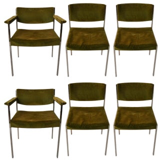 Set of Six Harvey Probber Dining Chairs 4 Side 2 Arm For Sale