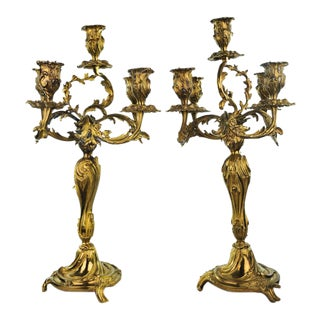 Antique Bronze Rococo Style Candelabras - A Pair For Sale