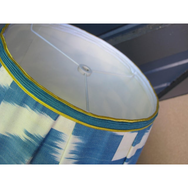 Tribal Blue and White Ikat Lampshades - a Pair For Sale - Image 3 of 4