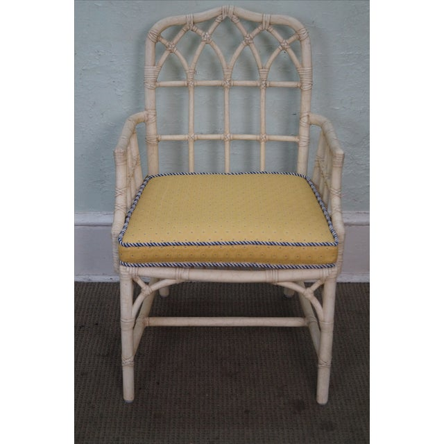 McGuire Chinese Chippendale Style Rattan Arm Chair - Image 2 of 10