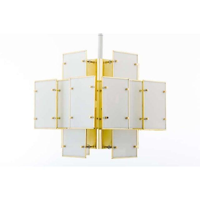 Mid-Century Modern Geometric Milk Glass Panel Chandelier For Sale - Image 3 of 8
