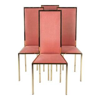 Set of Four Italian Mid-Century Brass Chairs, 1960s