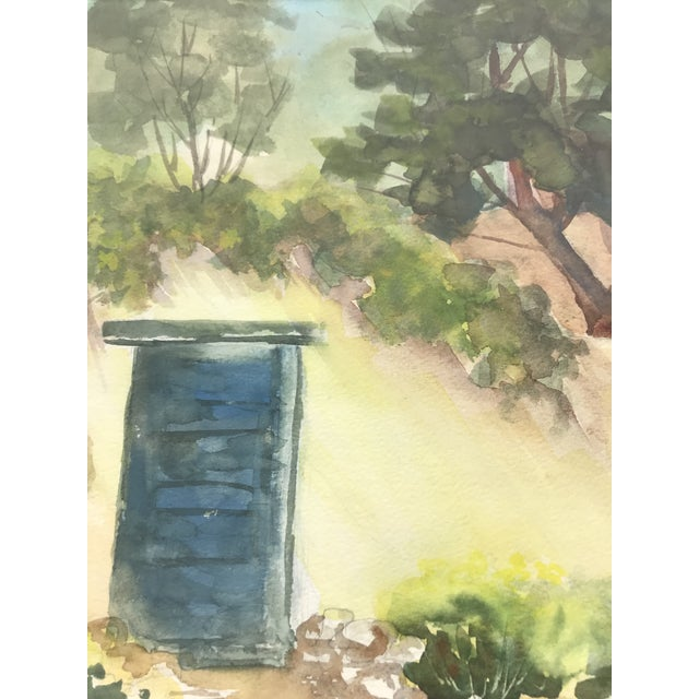 Contemporary Original Watercolor Blue Door Painting For Sale - Image 3 of 6
