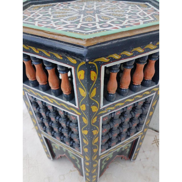 Moroccan Moroccan Hexagonal Hand Painted Wooden End Table For Sale - Image 3 of 7