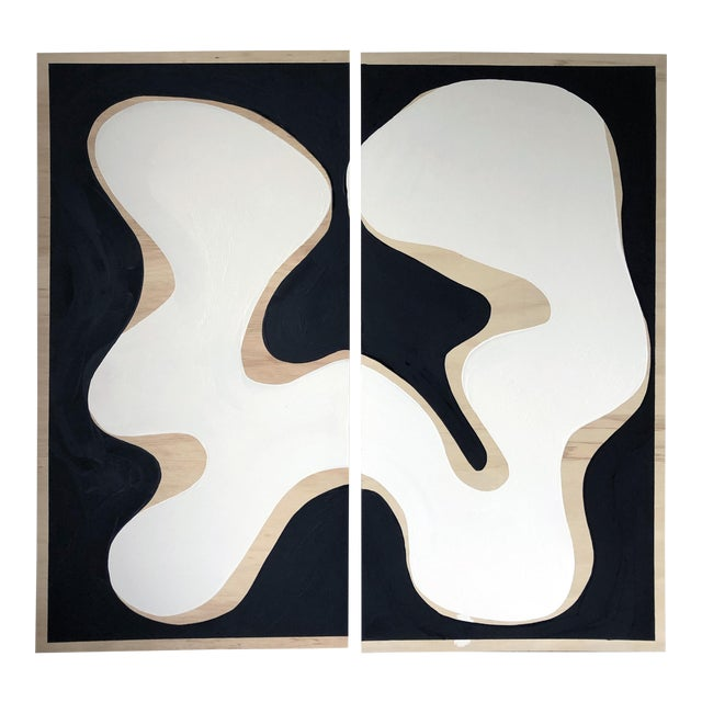 Exposed Birch Wood Abstract Black and White Diptych For Sale