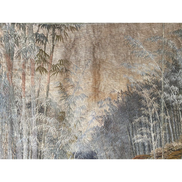 Antique Japanese Scenic Crane Bamboo Silk Hanging Wall Tapestry For Sale - Image 9 of 11
