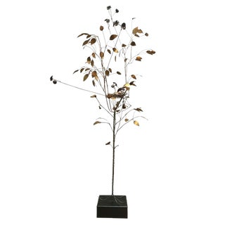 Curtis Jere Brass Tree Birds Nest Floor Sculpture For Sale