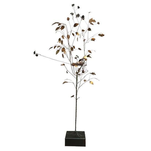 Curtis Jere Brass Tree Birds Nest Floor Sculpture For Sale