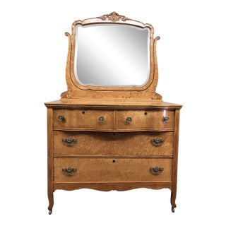 Vintage Curly Maple Dresser & Mirror