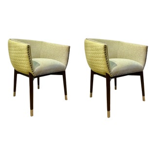 Mid-Century Modern Style Apple Green Barrel Chairs Pair For Sale