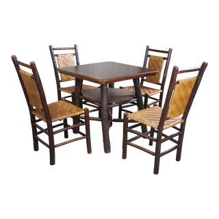 Rustic Hickory Furniture Company Game Table Set - 5 Pieces For Sale