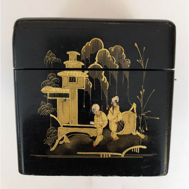 Early 19th Century A Charming English Regency Japanned Square-Form Tea Caddy For Sale - Image 5 of 6