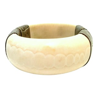 20th Century Silver Plate & Bone Hinge Bangle Bracelet For Sale