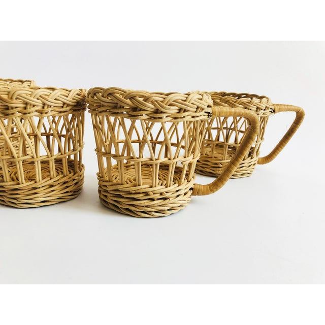Vintage Wicker Drink Cozies - Set of 4 For Sale - Image 4 of 6