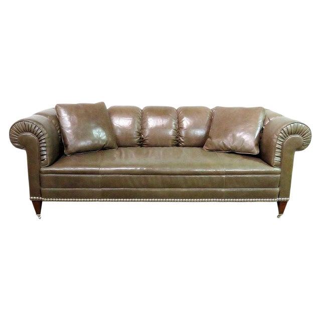 Barbara Barry for Baker Chesterfield Leather Sofa For Sale