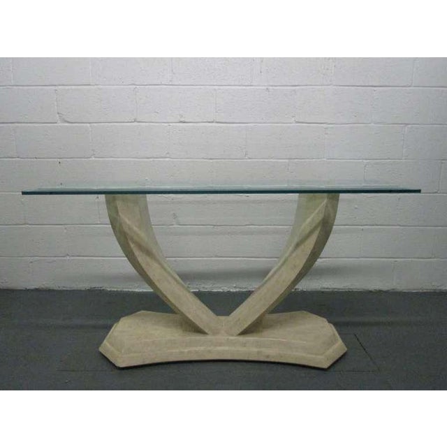 White Maitland Smith Tessellated Console Table For Sale - Image 8 of 8