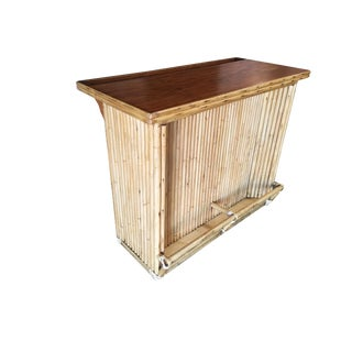 Restored Vertically Stacked Rattan Bar W/ Mahogany Top For Sale