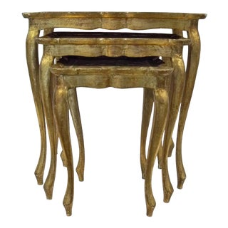 Nesting Florentine Table Trio Gold - Set of 3 For Sale